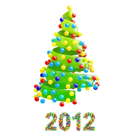 Christmas tree with colorful 2012 text on white background photo