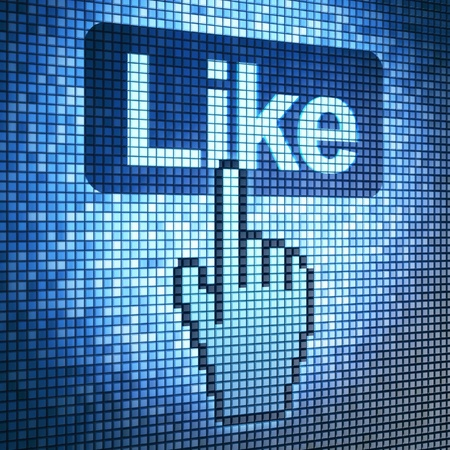 like: Screen with Like button and cursor, 3d render Stock Photo