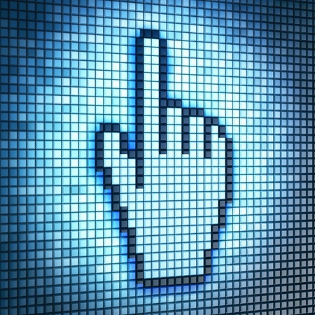 Screen with hand-shaped cursor, 3d render Stock Photo - 12111025