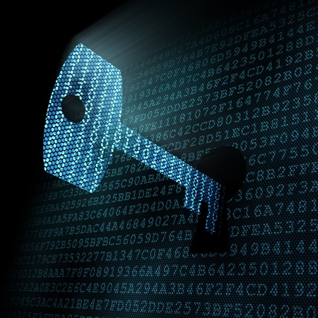 개인 정보 보호: pixeled 열쇠 구멍에 디지털 키를 3d 렌더링