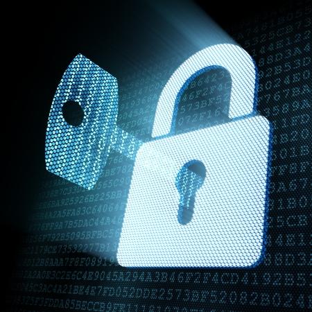 travar: Digital key in padlock keyhole, 3d render Banco de Imagens