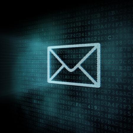 contact us sign: Pixeled mail envelop illustration, 3d render