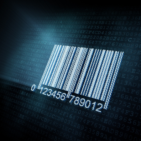 product display: Pixeled barcode illustration, 3d render