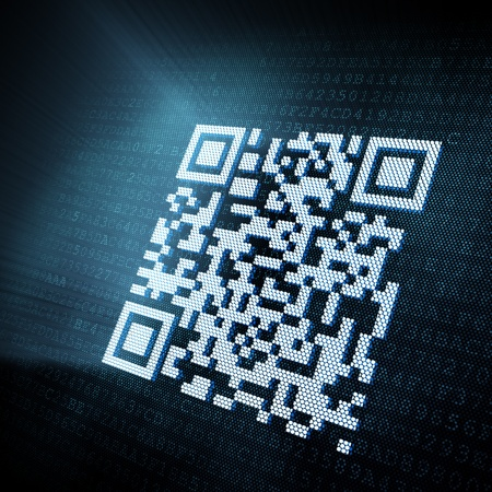 Pixeled QR code illustration, 3d render illustration
