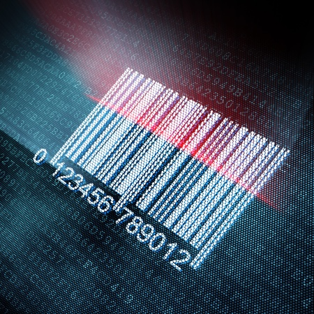 Pixeled barcode illustration, 3d render illustration