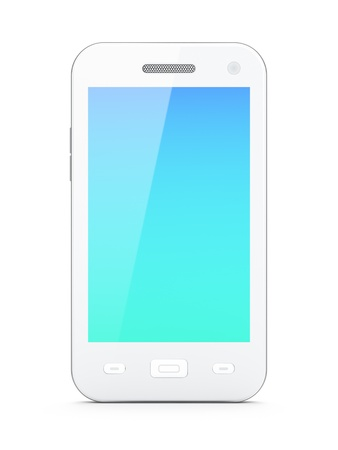 Beautiful white smartphone on white background, 3d render photo