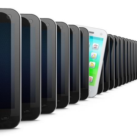 unterschiede: Sch�ne wei�e Smartphone in Reihe schwarzer Handys auf wei�em Hintergrund, 3d render
