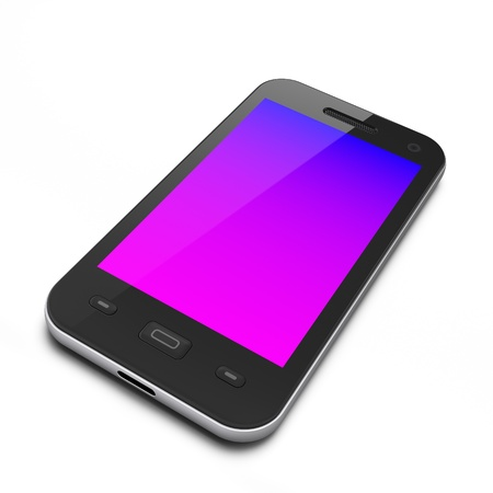 Beautiful black smartphone on white background, 3d render Stock Photo - 12110231