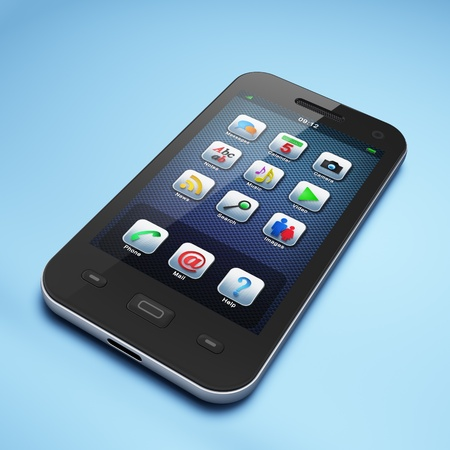 Beautiful highly-datailed black smartphone on light blue background, 3d render photo