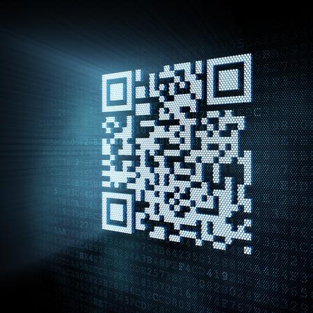 code computer: Pixeled QR code illustration, 3d render