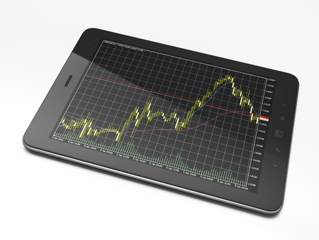 Beautiful black tablet pc on white background, 3d render photo