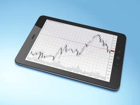Pc tablet Hermoso negro sobre fondo azul, 3d