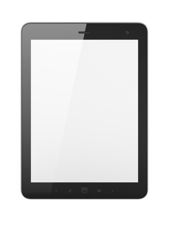 Black tablet pc on white background, 3d render Stock Photo