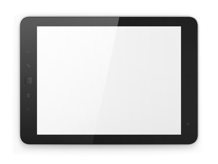 Black tablet pc on white background, 3d render photo