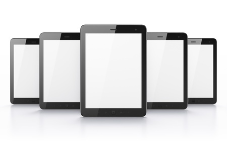 Black tablets on white background, 3d render. Just place your images on the screens! photo