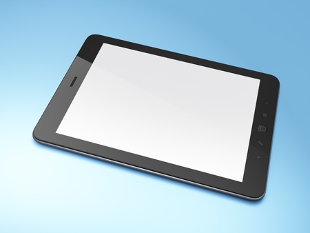 Beautiful black tablet pc on blue background, 3d render photo