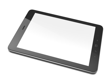 High-detailed black tablet pc on white background, 3d render Stock Photo - 12375118