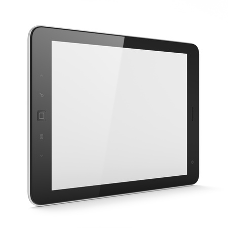 High-detailed black tablet pc on white background, 3d render photo