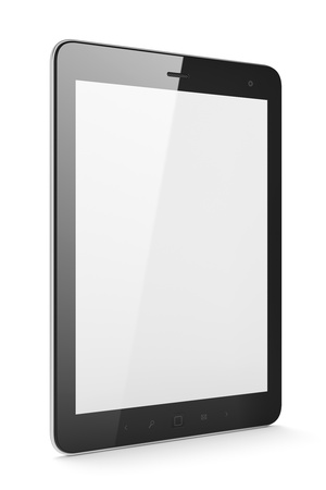 electronic tablet: High-detailed black tablet pc on white background, 3d render