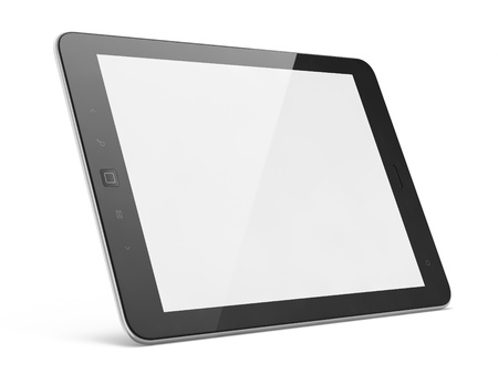High-detailed black tablet pc on white background, 3d render