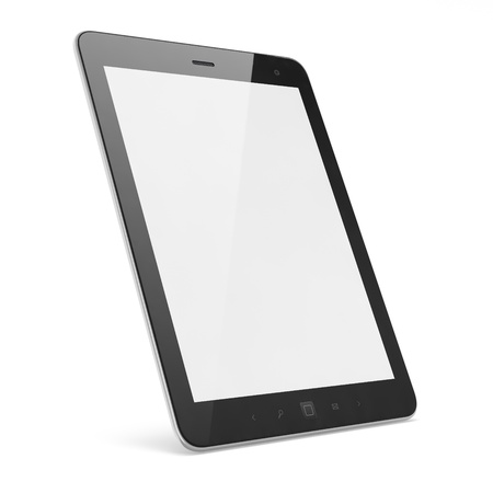pc: High-detailed black tablet pc on white background, 3d render