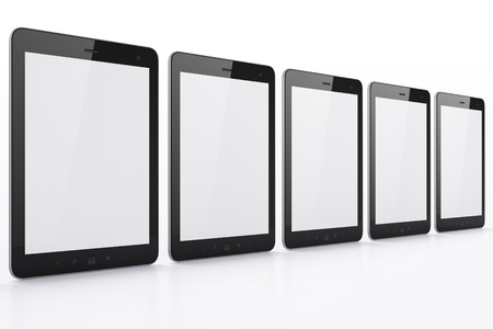 Black tablets on white background, 3d render  Just place your images on the screens  photo