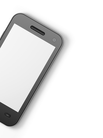 Beautiful highly-datailed black smartphone on white background, 3d render Stock Photo - 13229023