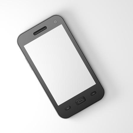 Beautiful highly-datailed black smartphone on white background, 3d render Stock Photo - 13229320