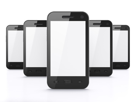 touch screen phone: Black smart phones on white background, 3d render  Just place your images on the screens  Stock Photo