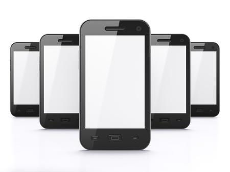 Black tel�fonos inteligentes en el fondo blanco, 3d hacer S�lo tiene que colocar las im�genes en las pantallas Foto de archivo