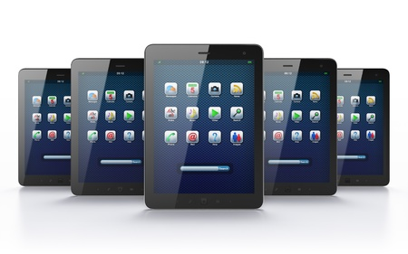 Black tablets on white background, 3d render  Just place your images on the screens