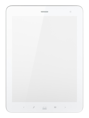 High-detailed white tablet pc on white background, 3d render   Stock Photo - 13229021