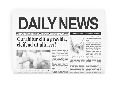 newspaper headline: Newspapers on white background