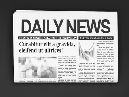 newspaper headline: Newspapers on dark background
