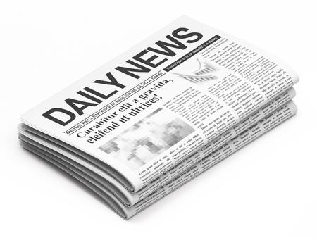 흰색 배경에 신문 스톡 콘텐츠