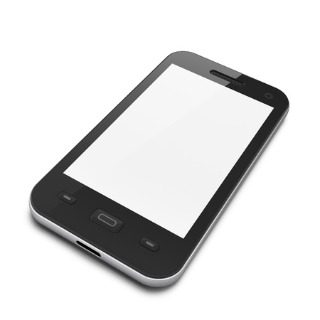 Beautiful highly-datailed black smartphone on white background, 3d render photo