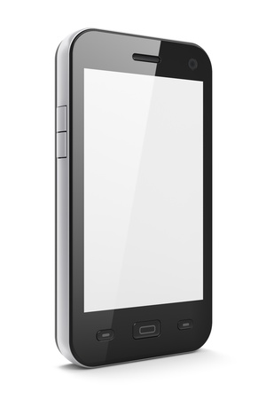 black phone and call: Beautiful highly-datailed black smartphone on white background, 3d render Stock Photo