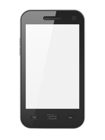 phone button: Beautiful highly-datailed black smartphone on white background, 3d render Stock Photo