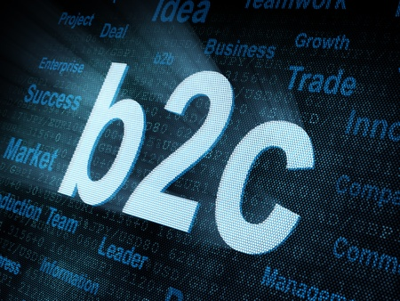Pixeled word b2c on digital screen 3d render photo