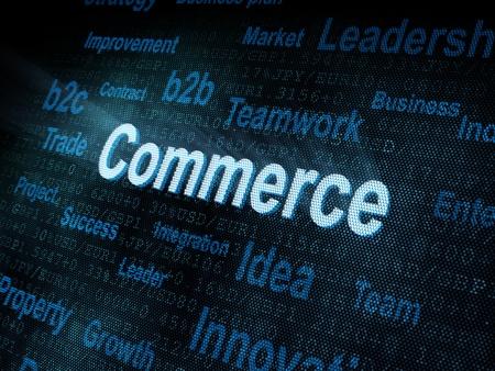 Pixeled word Commerce on digital screen 3d render photo