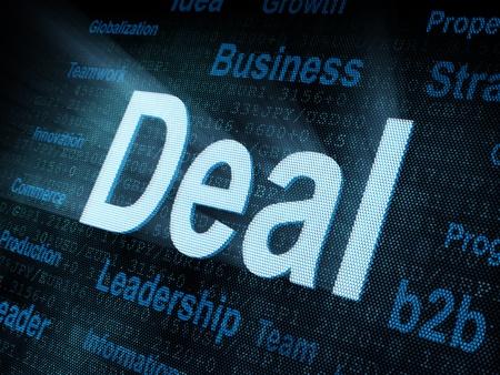 Pixeled word Deal on digital screen 3d render Stock Photo - 13501586