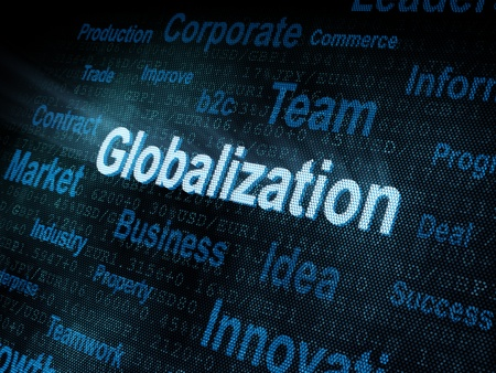 pixeled: Pixeled word Globalization on digital screen 3d render Stock Photo