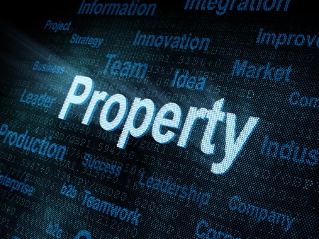 property management: Pixeled word Property on digital screen 3d render Stock Photo