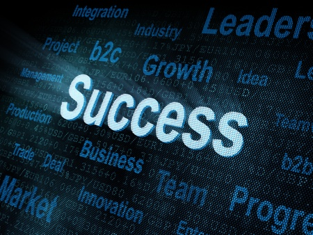 Pixeled word Success on digital screen 3d render Stock Photo - 13501579