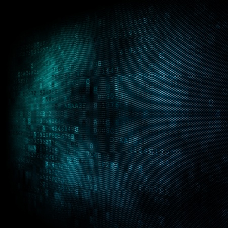 buisness: Pixeled hexagonal background on digital screen 3d render