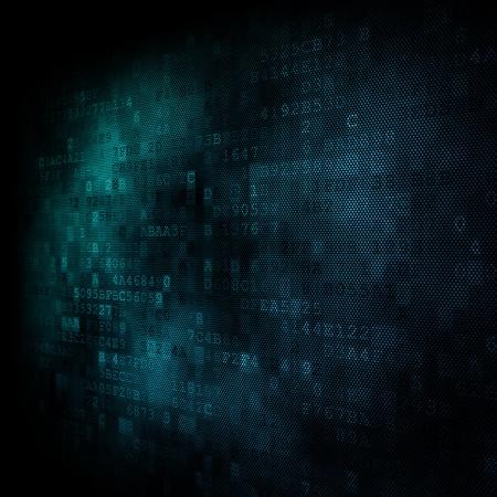 bussines: Pixeled zeshoekige achtergrond via digitaal scherm 3d render