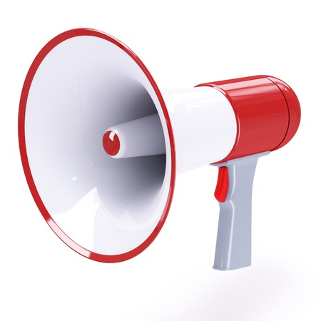loudhailer: Red megaphone with red button isolated on white background