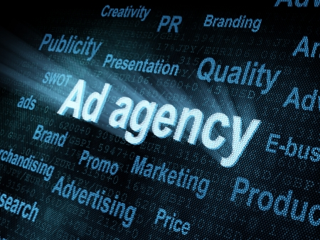 pixeled: Pixeled word Ad agency on digital screen 3d render Stock Photo