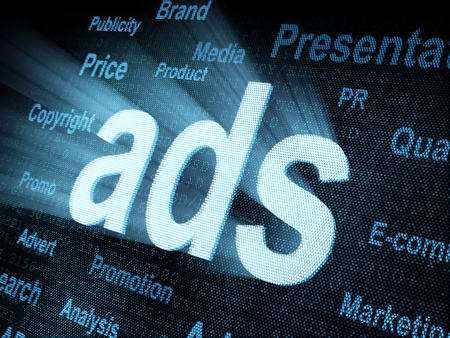 pixeled: Pixeled word ads on digital screen 3d render Stock Photo