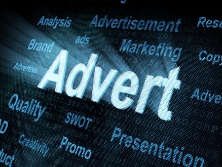 advert: Pixeled word Advert on digital screen 3d render Stock Photo